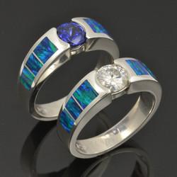 Lab Opal Wedding Ring Set