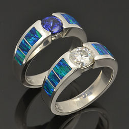 Lab created opal ring with moissanite an