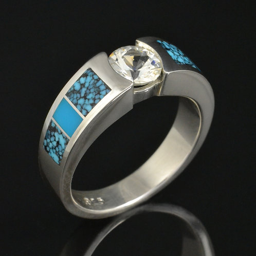 White Sapphire and Turquoise Engagement Ring
