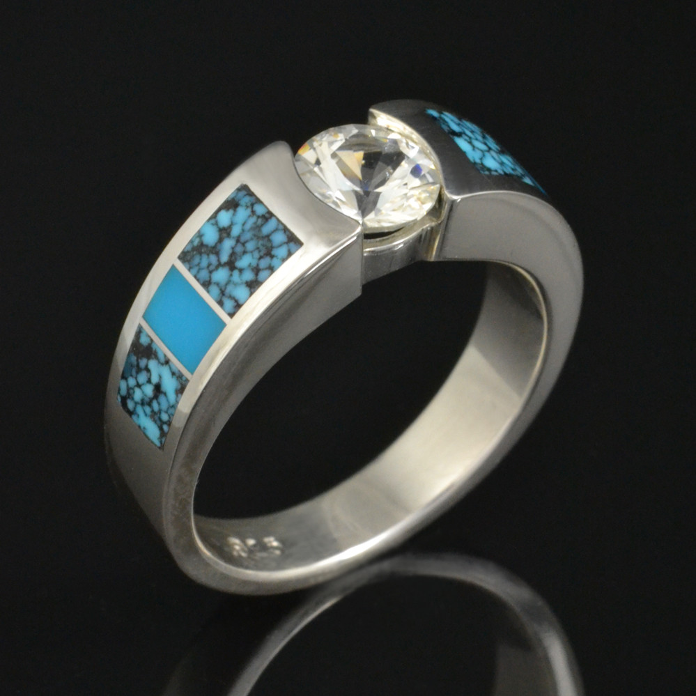 White sapphire and turquoise engagement