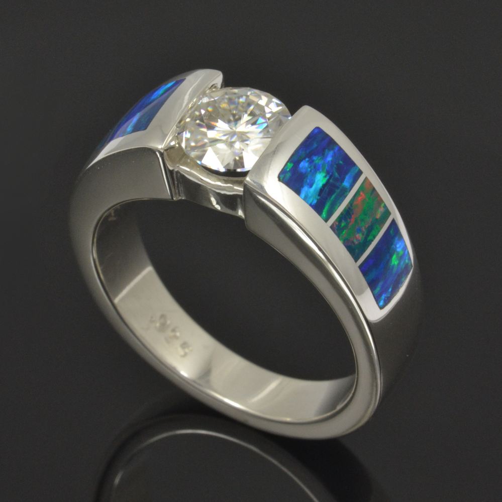 Lab Opal Engagement Ring with Moissanite
