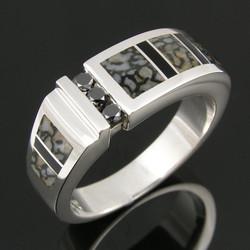 Black diamond sterling silver gray dinosaur bone and onyx
