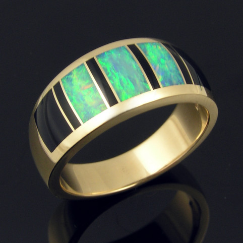 Australian opal ring with black onyx in 14k yellow gold by The Hileman Collection.