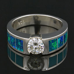 Lab opal ring with moissanite in sterlin