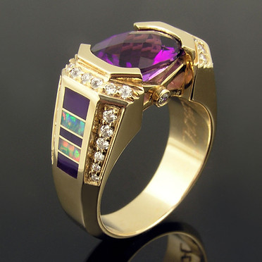 Amethyst, Opal and Sugilite Ring