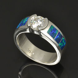 Lab opal and moissanite engagement ring