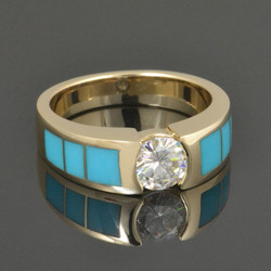 Moissanite turquoise cowgirl ring