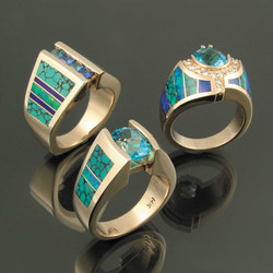 Turquoise cowgirl rings by Hileman