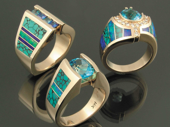 Turquoise rings in 14k yellow gold by Hi