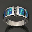 Lab opal wedding ring with black diamonds