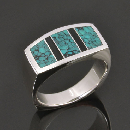 Men's Spiderweb Turquoise Ring with Black Onyx Accents