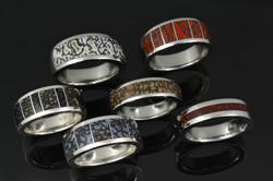 Dinosaur bone rings for mens in sterling silver_