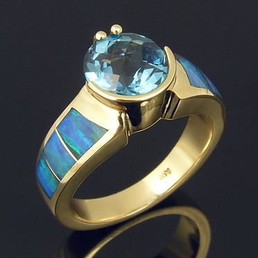 Blue Topaz and Opal Ring