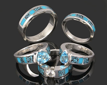 Turquoise engagement and wedding rings b