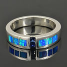 Sapphire and Lab Opal Wedding Ring