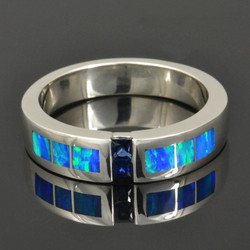 Men's Blue Sapphire and Lab Opal Ring