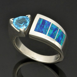 Lab created opal ring with trillion blue topaz set in sterling silver