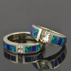 Lab Opal, Lapis and White Sapphire Wedding Set