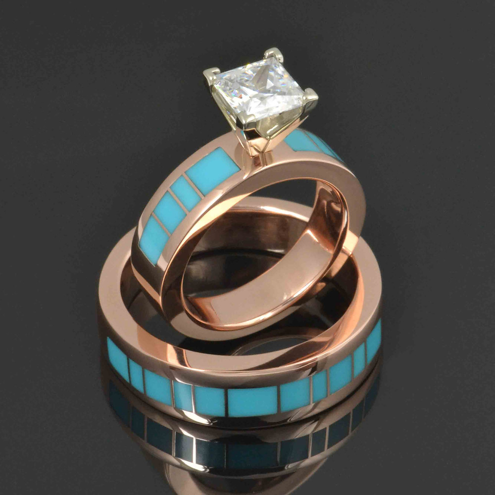 Custom rose gold engagement ring with matching man's turquoise wedding band.