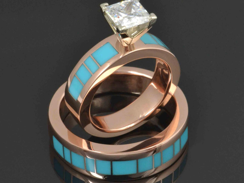 Custom rose gold turquoise engagement