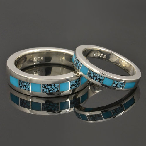 His and Hers Turquoise Wedding Ring Set
