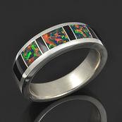 Lab Opal and Black Onyx Ring M206