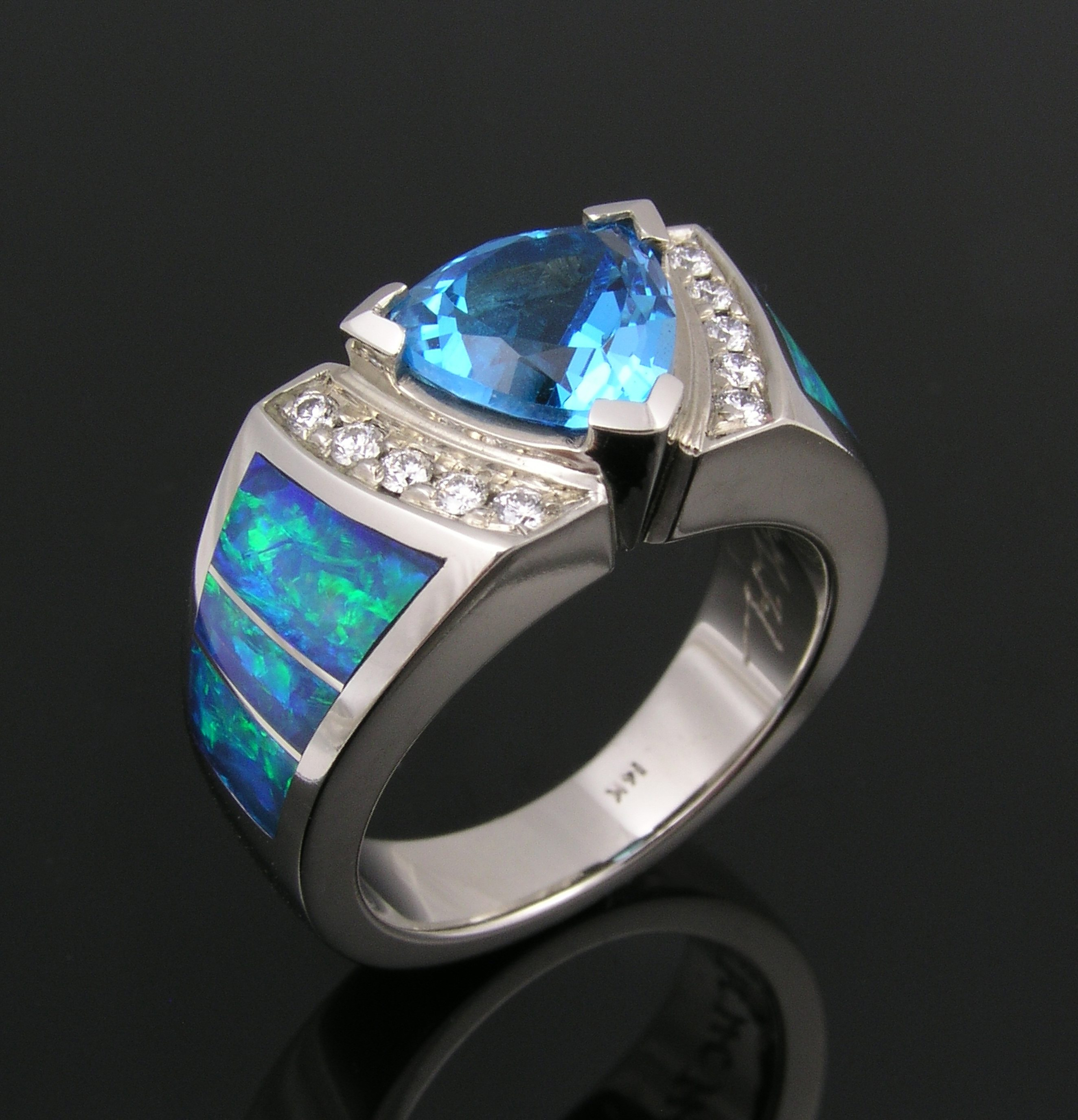 Australian opal ring with trillion topaz and diamonds in white gold by The Hileman Collection.