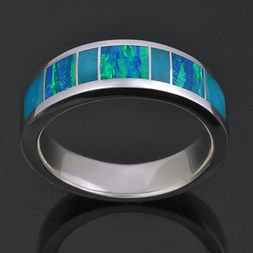 Turquoise and Lab Opal Ring in Sterling Silver