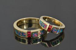 Red sapphire lab opal wedding set