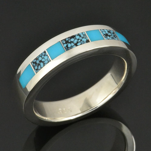Man's Turquoise Ring in Sterling Silver
