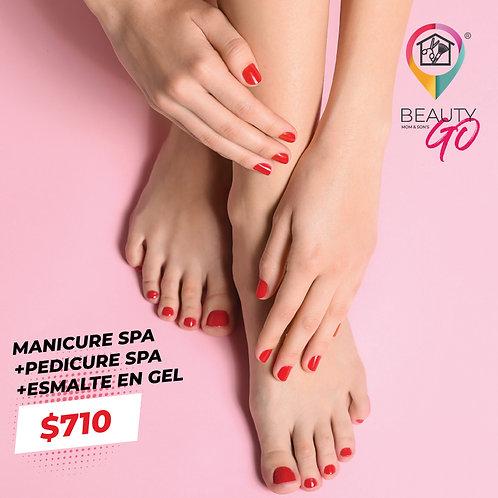 Manicure spa +Pedicure spa +Esmalte en gel en manos o pies