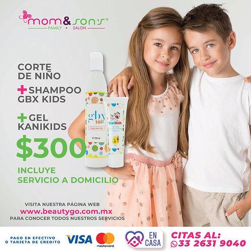 Corte de niño +Shampoo GBX kids +Gel Kanikids
