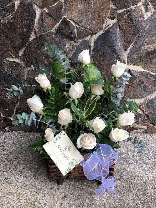 Cofre 12 Rosas Blancas