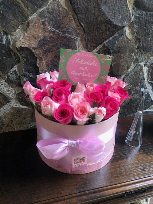 Caja  Pink Pearl 24 Rosas