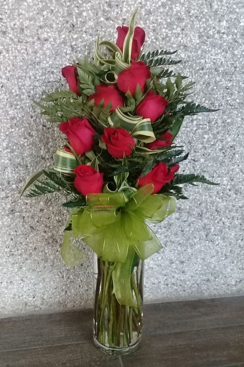 Florero Cilindro 18 Rosas