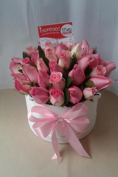 Caja White 36 Rosas