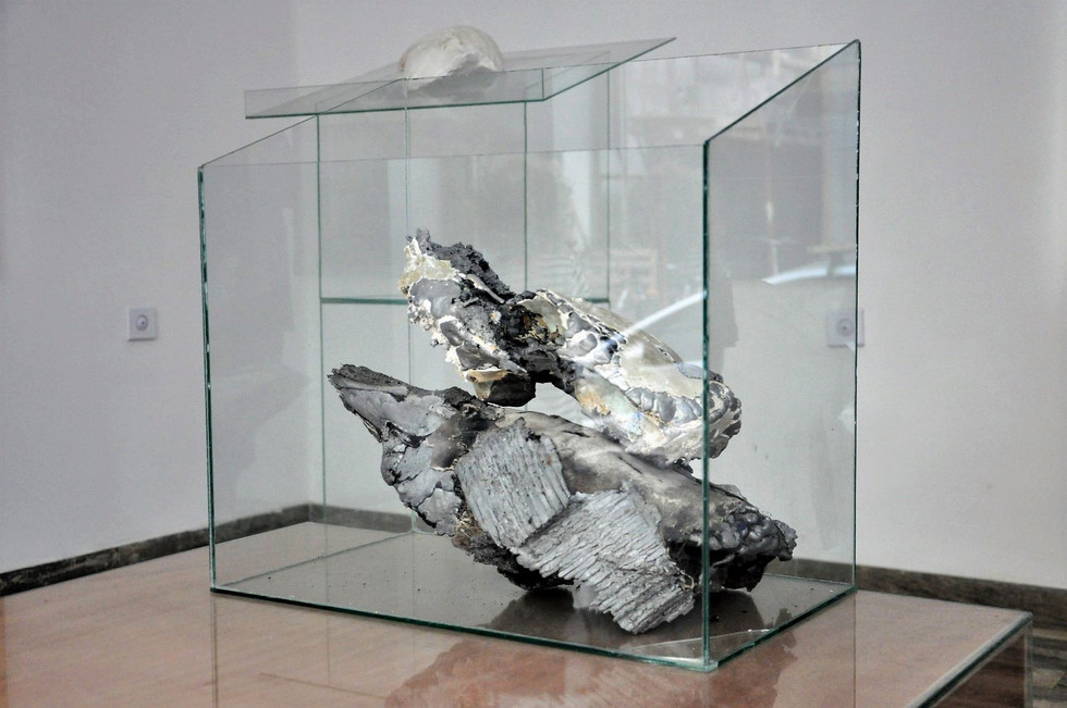 skulls and glass cow skulls- baked at 1100 degrees celsius and then cast with aluminum