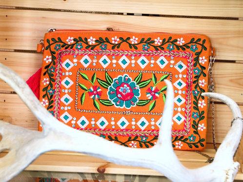 Orange Embroidered Purse