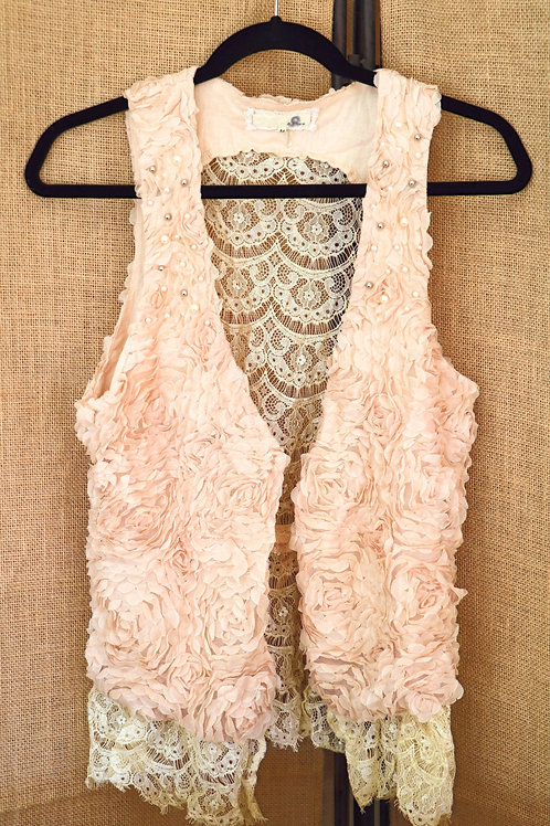 Vintage Lace Vest with Pearls