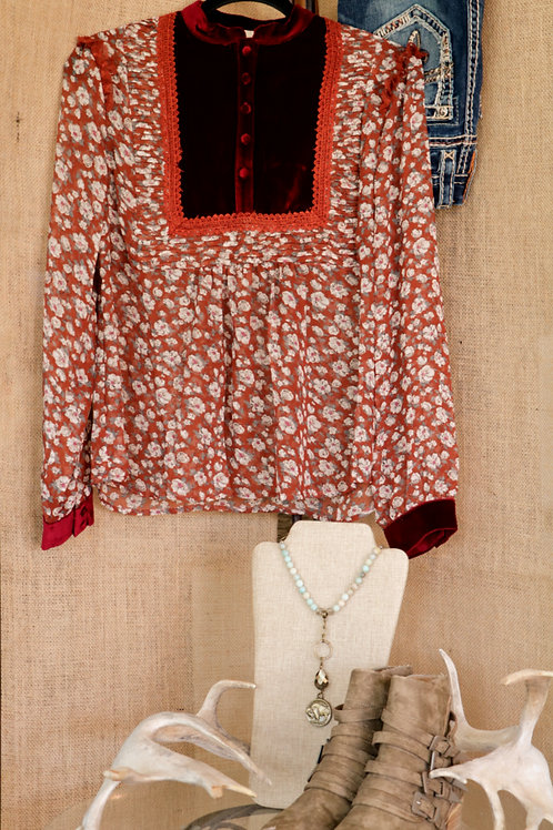 Red Floral Blouse with Velvet Yoke