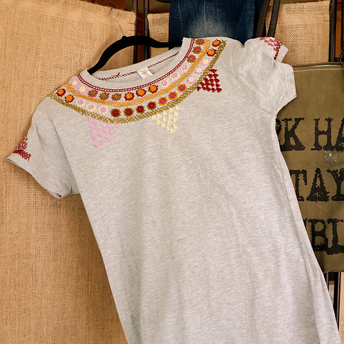 Grey T Shirt with Embroidered Yoke