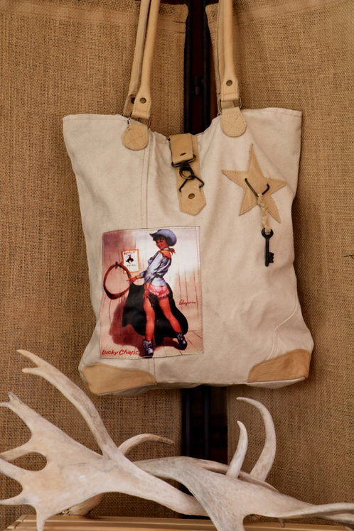 Blue Vintage Cowgirl Canvas Bag