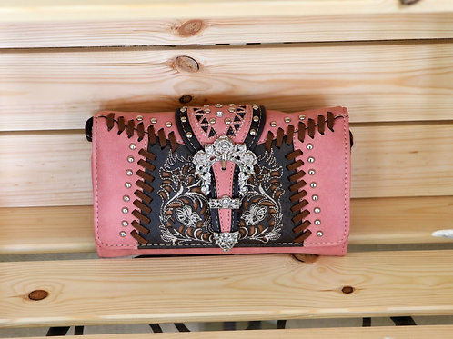 Pink and Brown Leather Wallet/Purse