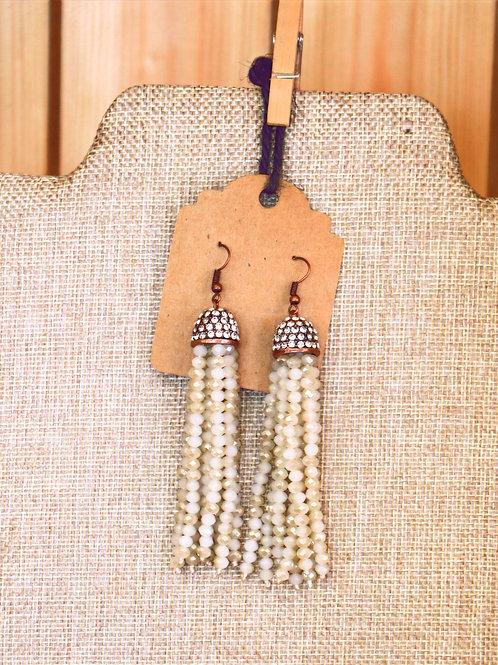 Ivory Beaded Drop Earrings