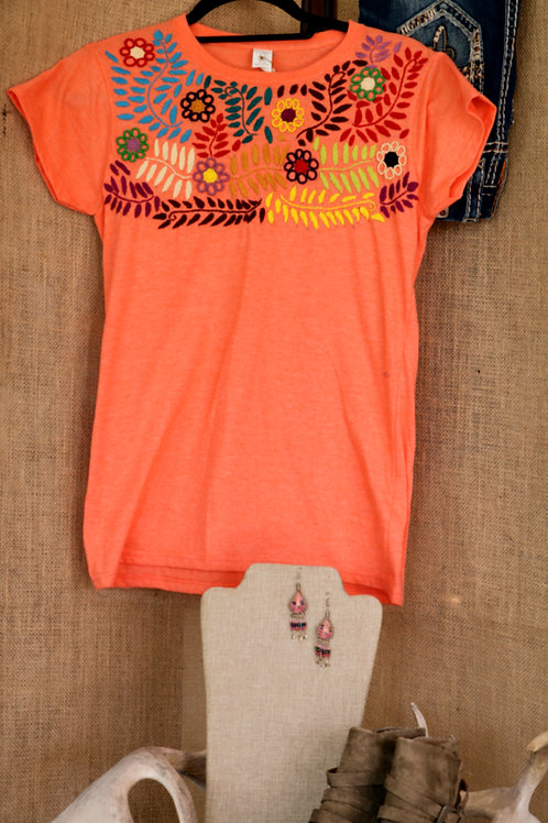 Heathered Orange T Shirt with Floral Embroidered Yoke