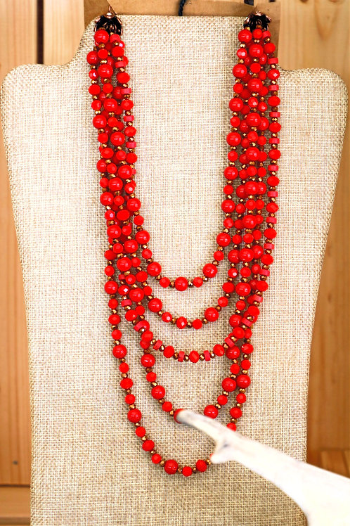 Red and Bronze Multi Layer Necklace