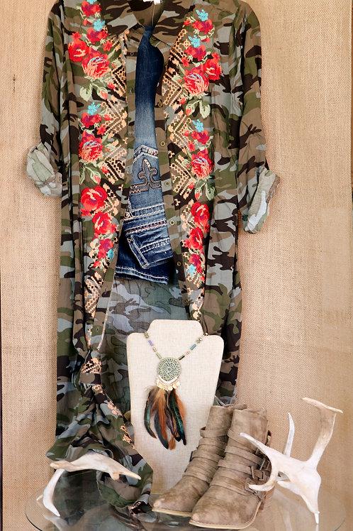 Camo Embroidered Tunic/Dress