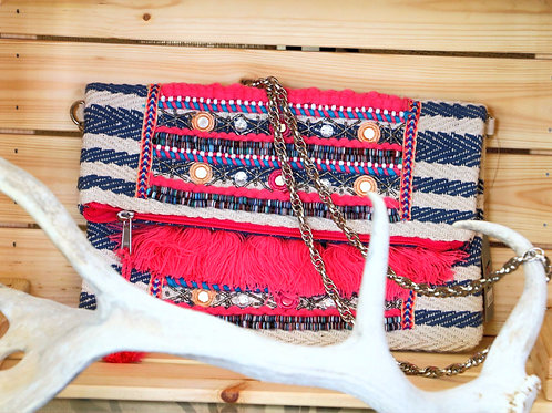 Pink and Blue Striped Purse