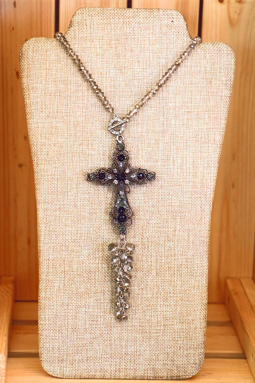 Smokey Grey and Black Beaded Cross Necklace