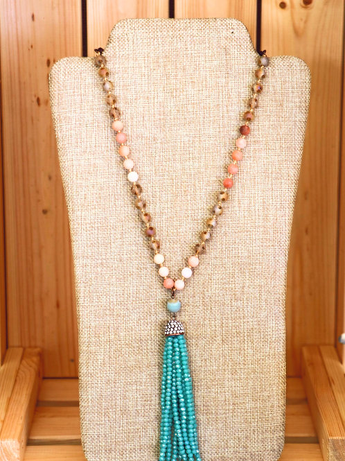 Dusty Rose and Turquoise Tassel Necklace